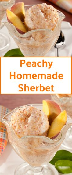 our scrumptious peachy homemade sherbet comes together easily and of course is a healthy option