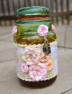 alter jar/ good idea for all my used candle jars, make fabric and pearl flowers, lace trim with string pearl spool, painted doily background, all pastels in sets of 2-3. very shabby chic