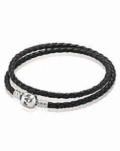 PANDORA Bracelet - Black Leather Double Wrap with Sterling Silver Clasp