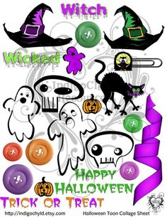 Halloween Toon Digital Collage Sheet JPG by indigochyld on Etsy, $1.50