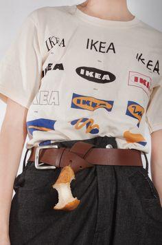 Eikea. Short sleeve jersey t-shirt in cream by ytinifninfinity