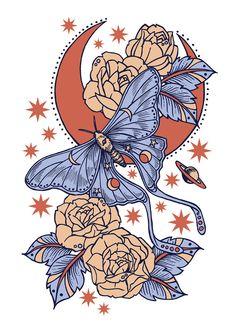Lunar moth and moon Et Tattoo, Tattoo Drawings, Art Drawings, Hippie Art, Flash Art, Makeup Tricks, Soft Grunge, Cute Tattoos, Aesthetic Art