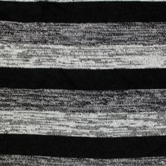 Black Heather Charcoal Stripe Hacci Sweater Knit Fabric - Very high quality poly rayon spandex blend Hacci sweater knit in a trio of stripes in black, heather black, and heather charcoal grey.  Light to medium weight with a nice stretch and recovery, a more closed weave of sweater weave.  Stripes repeats every 9.20 cm.  Great for sweaters, tops, cardigans, beanies, scarves, shawls, and much more.  ::  £8.95