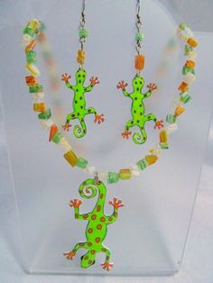 Don't you love lizards?  Tropical Rain Forest  Lizard Necklace and Earring Set | Wyverndesigns - Jewelry on ArtFire