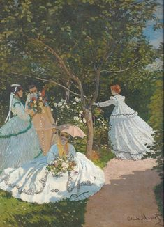 "A little past my era, but a good example of ""garden party-ish"" clothing.  Claude Monet. Women in the garden, around 1866, Paris, Musée d'Orsay"