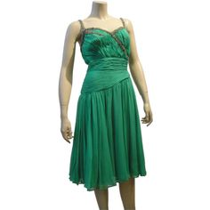 Pre-owned Saks Fifth Avenue 60s Beaded Jade Chiffon Cocktail Dress ($1,200) ❤ liked on Polyvore featuring dresses, ballerina dresses, evening dresses, drop waist beaded dress, jade green dress, chiffon cocktail dress, vintage green dress and vintage dresses