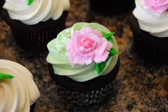 Flower Decorated Cupcakes! ORDER HERE ---> https://www.facebook.com/StefsEvents    #Wedding #Cupcakes #specialoccasion #MothersDay #Spring #Easter #Birthday #ShabbyChic #Rose #Flower #Kenosha #WI #wisconsin #IL #Illinois #NorthernIL #pink #green