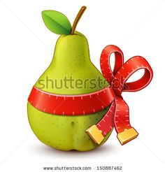 Pear with measure tape ribbon bow by Chuhail, via ShutterStock