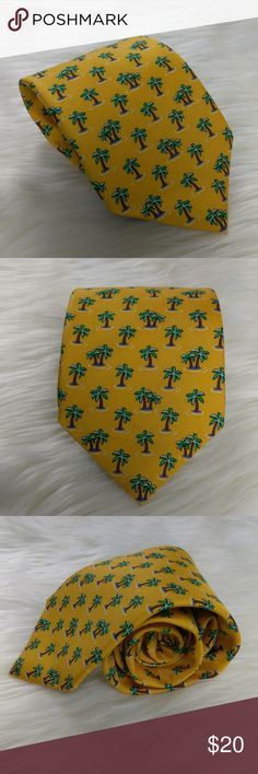 NWT Brooks Brothers Yellow Gold Palm Tree Tie NWT Brooks Brothers Yellow Gold Palm Tree Novelty Print 100% Silk Men's Neck Tie Brooks Brothers Accessories Ties