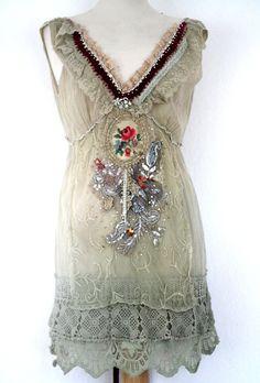 soñador delicada túnica romántica collage textil por FleursBoheme