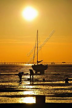 Thorpe Bay sunset over boats Southend Essex photograph picture print by AE Photo