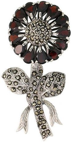 Sterling Silver Marcasite Large Sunflower Brooch Pin w Pear Cut Garnet Stones 2 716 in 62mm tall >>> You can get additional details at the image link.(This is an Amazon affiliate link)