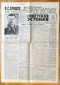 Soviet Newspaper SOVETSKAJA ESTONIJA April , 14 1961 Soviet Russia YURI GAGARIN Space Flight Newspaper SECOND DAY