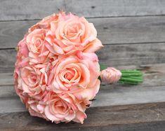Wedding Flowers, Wedding Bouquet, Keepsake Bouquet, Bridal Bouquet Coral, salmon rose wedding bouquet made of silk roses.