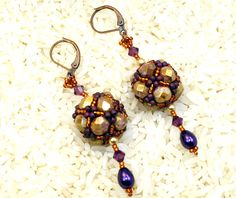 Beaded Bead handmade beadwork earrings Swarovski by Cabinfeverclay