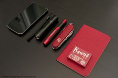 Kaweco AC Sport fountain pen  Ink cartridges Field Notes notebook  Victorinox Climber knife.  [[MORE]] From the editor: Nice setup man- The ...