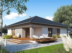 Projekt domu MT Ariel paliwo stałe CE - DOM - gotowy koszt budowy Bungalow Haus Design, Bungalow House Plans, Modern Family House, Modern House Design, House Layout Plans, House Layouts, House Paint Exterior, Dream House Exterior, Best House Plans