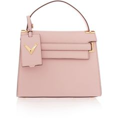 Valentino My Rockstud leather tote ($2,350) ❤ liked on Polyvore featuring bags, handbags, tote bags, pink, valentino tote, pink tote bag, pink leather handbag, structured tote bag and genuine leather handbags