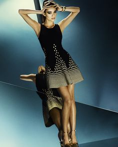 EXCLUSIVE Fit And Flare Gold Lurex Tank Dress: Black-Gig-Designers- IntermixOnline.com
