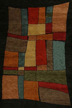 Khotan magic - Tibetan area rug with whimsical contemporary design of bold blocks of color on a dark field