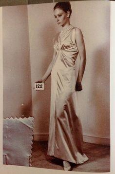Balenciaga evening dress of grey silk satin, winter 1963.