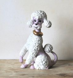 Mid Century Large Ceramic Poodle Lavender Hand Painted  ivorybird