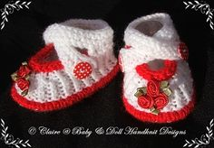 Preemie booties. To purchase go to  http://www.babydollhandknitdesigns.co.uk