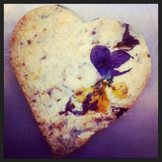 heart biscuit with edible viola baked in perfect for Valentines Day