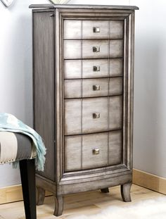 Natalie Jewelry Armoire ~ Silver Leaf