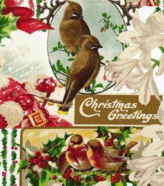 Holiday Inspirations Christmas Fabric- Vintage Santa Patch
