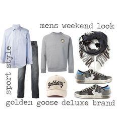 """mens weekend look"" by jofrebcn  #goldengoosedeluxebrand #goldengoose #ggdb #goldenny #sneakers #jeans #scarf #shirt #menswear  www.jofre.eu"