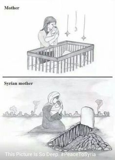 A mother and be mother in Syria Children Of Syria, Save Syria, Help Syria, If I Can Dream, Satirical Illustrations, Anime Muslim, Sad Pictures, Dear Mom, Sad Art