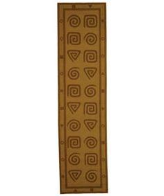 Hand-hooked Geo Beige Wool Runner (2'6 x 8')