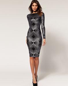 Asos Midi Dress in Glitter Print.