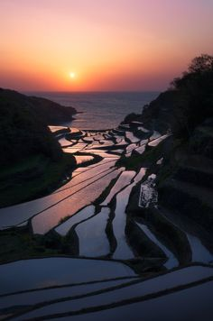 Beautiful rice terraces of Saga, Hamanoura, Japan