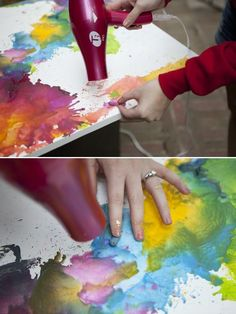different approach to crayons on canvas ~ way cooler than the original method... looks like a watercolor! - Click image to find more DIY & Crafts Pinterest pins