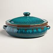 I am in love with this piece.) Large Peacock Reactive Glaze Belly-Shaped Baker with Lid