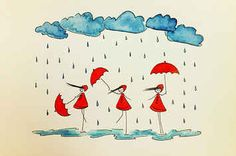 Amidst the endless pics of coffee cups, wooden tables, brunch entrees and kittens, there is a burgeoning world of visual… Art Fantaisiste, Rain Art, Red Umbrella, Illustrations, Rain Illustration, Stick Figures, Diy Arts And Crafts, Whimsical Art, Easy Drawings