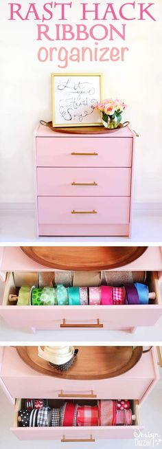 Best Diy Crafts Ideas Use a Rast dresser to create a simple hack: RIBBON ORGANIZER! Super easy and super cute. It's even on caster wheels so I can roll it under my craft table! Design Dazzle -Read More – Ribbon Organization, Craft Organization, Decorating Your Home, Diy Home Decor, Diy Furniture Projects, Furniture Makeover, Craft Projects, Getting Organized, Simple Hack