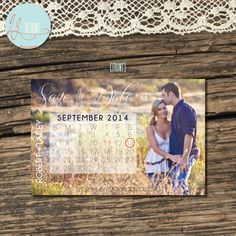 5x7 Wedding Save the Date Calendar Card  by laceyjodesigns on Etsy, $10.00