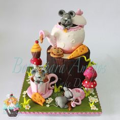 Three little mouses crashes a Tea Party...  They had a lot of fun and made a huge mess!