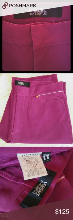 "Versace Couture pants Beautiful fushia couture pants exclusively purchased from Versace boutique. They are dress pants with a classy hug. Very stretchy. Looks sharp with heels and a tight bodysuit blouse or just a timeless top in black or white. EXCELLENT CONDITION all & all. 👉""minor stain"" which I have in my photos not obvious. Bring these to your tailor if you want to get it treated professionally. They are FAB! Versace Collection Pants Straight Leg"