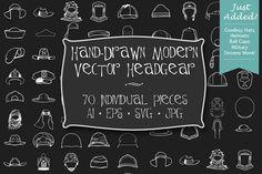 Hand-Drawn Modern Headgear Art by HeroMachine Vector Art on @creativemarket