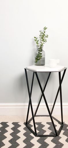 Shop for side tables at Swoon. From consoles to bedside tables, you'll be impressed by our exclusive range of contemporary side tables for the living room or bedroom. Small Hallway Table, Small Hallway Decorating, Hallway Table Decor, Hallway Art, Small Hallways, Entryway Decor, Hallway Ideas, Round Marble Table, Monochrome Interior