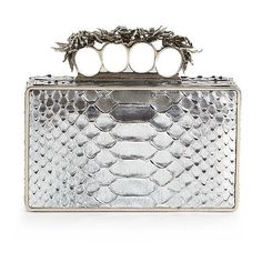 Alexander McQueen Metallic Python Knuckle Box Clutch ($1,399) ❤ liked on Polyvore featuring bags, handbags, clutches, apparel & accessories, bright silver, silver clutches, silver metallic handbag, floral handbags, brass knuckle purse and silver handbag
