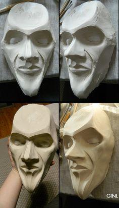 Travail d'Antoine sur la réplique de son visage en plâtre (au dessus) Finition par moi (en bas)