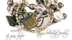 Tanya Lochridge Jewelry Rainbow Obsidian, Pearl & Czech Glass Bracelet stacked with early Joan Boyce. #joanboyce #tanyalochridgejewelry