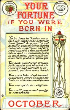 Divided Back Postcard Fortune predicted for the birth date in the month of October Astrology & Zodiac Astrology Zodiac, Astrology Signs, Zodiac Signs, Astrology Numerology, Numerology Numbers, Numerology Chart, Astrological Sign, Zodiac Art, Libra Zodiac