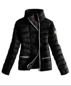 Moncler Down Jackets Womens White Zip Pure Color Black! Only $209.9USD