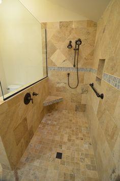 Beautiful Bathroom Design Ideas Using Doorless Shower: Doorless Shower With Corner Shower Bench And Tile Shower Floor Bathroom Shower Panels, Small Bathroom With Shower, Shower Seat, Bathroom Design Small, Bathroom Showers, Master Shower, Shower Floor, Bathroom Designs, Tile Showers